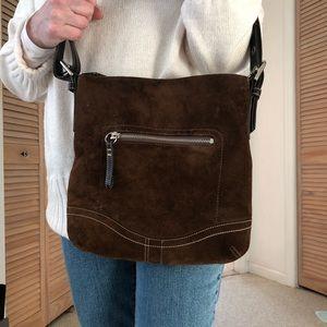 Coach brown suede bag